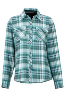 Women's Bridget Midweight Flannel LS Shirt, Mallard Green, medium