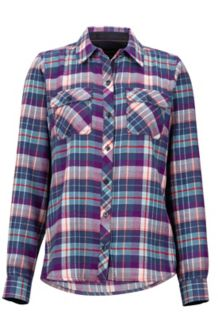 Women's Bridget Midweight Flannel LS Shirt, Dark Purple, medium