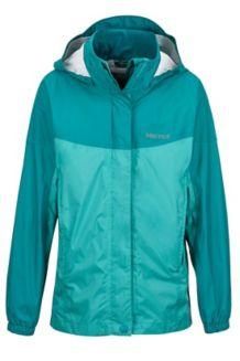 Girl's PreCip Jacket, Teal Tide/Malachite, medium