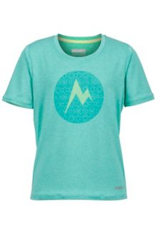 Girl's Post Time Tee SS, Crystal Green Heather, medium