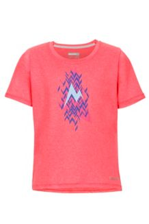 Girl's Post Time Tee SS, Bright Pink Heather, medium