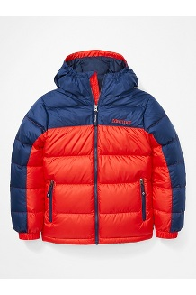 Kids' Guides Down Hoody, Victory Red/Arctic Navy, medium