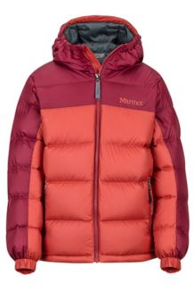 Boy's Guides Down Hoody, Auburn/Madder Red, medium