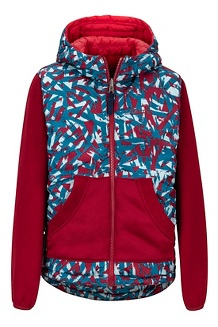 Boys' Featherless Reversible Hoody, Team Red/Brick, medium