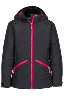 Girl's Val D'Sere Jacket, Black/Bright Ruby, medium