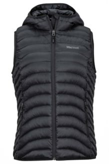 Wm's Bronco Hooded Vest, Black, medium