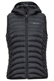 Women's Bronco Hooded Vest, Black, medium