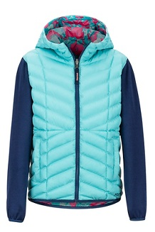 Girls' Featherless Reversible Hoody, Aquarelle/Arctic Navy, medium