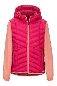 Girls' Featherless Reversible Hoody, Disco Pink/Spritzer, medium