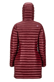 Women's Long Avant Featherless Hoody, Claret, medium