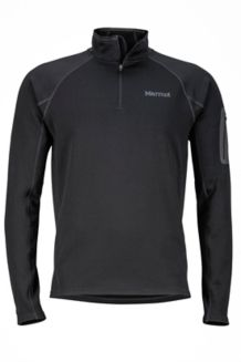 Stretch Fleece 1/2 Zip, Black, medium