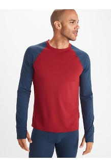 Men's Baselayer Long-Sleeve Crew, Brick/Dark Indigo, medium