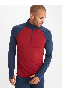 Men's Baselayer ½-Zip Jacket, Brick/Dark Indigo, medium