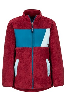 Boys' Roland Fleece Jacket, Brick/Moroccan Blue, medium