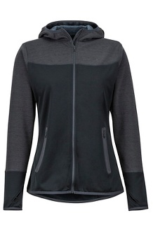 Women's Sirona Fleece Hoody, Black/Dark Steel, medium