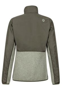 Women's Tech Sweater, Dusty Olive Heather/Forest Night, medium