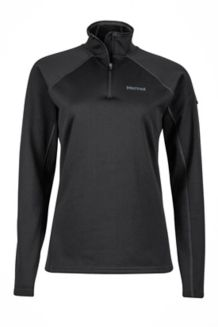 Wm's Stretch Fleece 1/2 Zip, Black, medium
