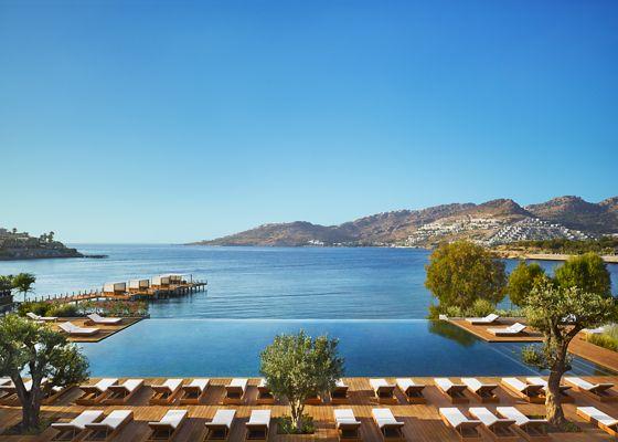 An infinity pool overlooking the sea