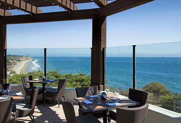 An ocean-view dining terrace