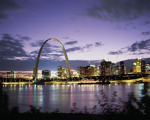 View from across the river of the arch at night