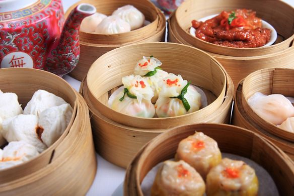 Wood containers with dumplings