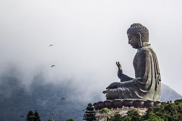 A large sitting Buddha statue
