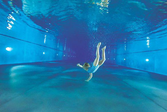Dorothy enjoying the pool at The Ritz-Carlton, Wolfsburg