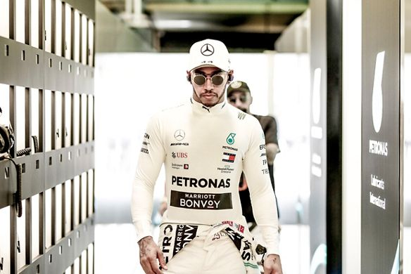 Lewis Hamilton walks into a race.