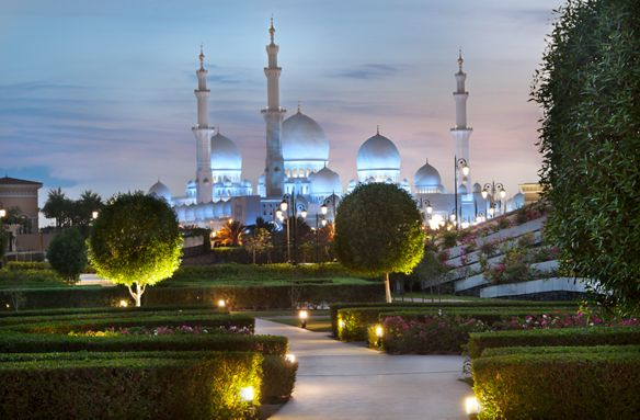 Evening view of the Sheikh Zayed Grand Mosque from the olive grove