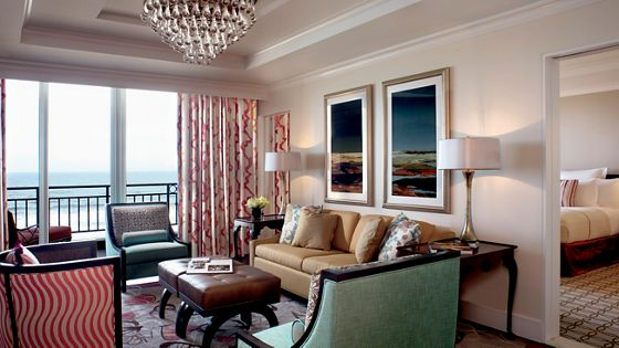 Luxurious suite with separate living and sleeping areas
