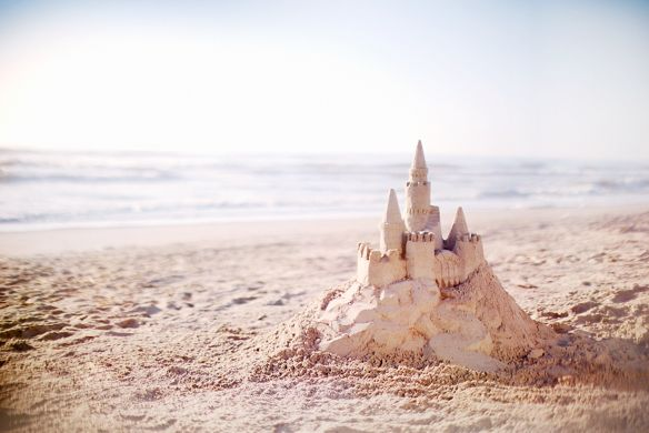 A sandcastle on the beach