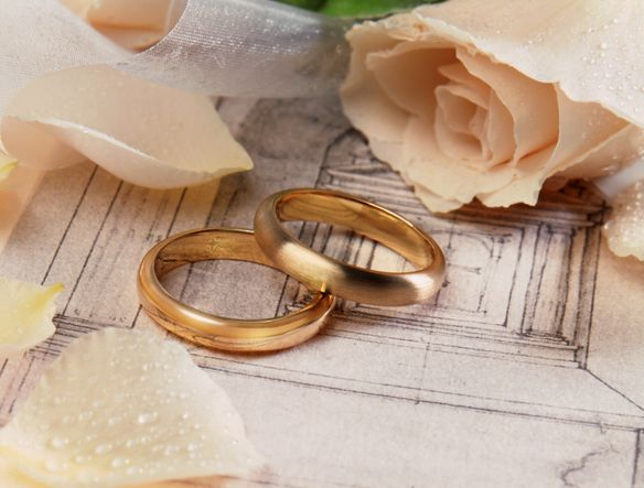 Two wedding bands, flower petals and a rose