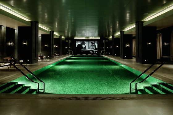 An indoor heated lap pool