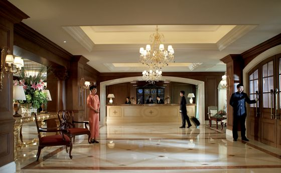 An elegant lobby welcomes guests with unrivaled luxury