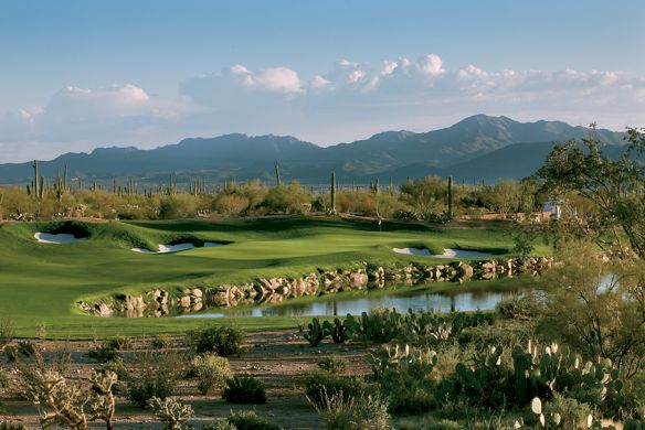 Desert golf course with water features