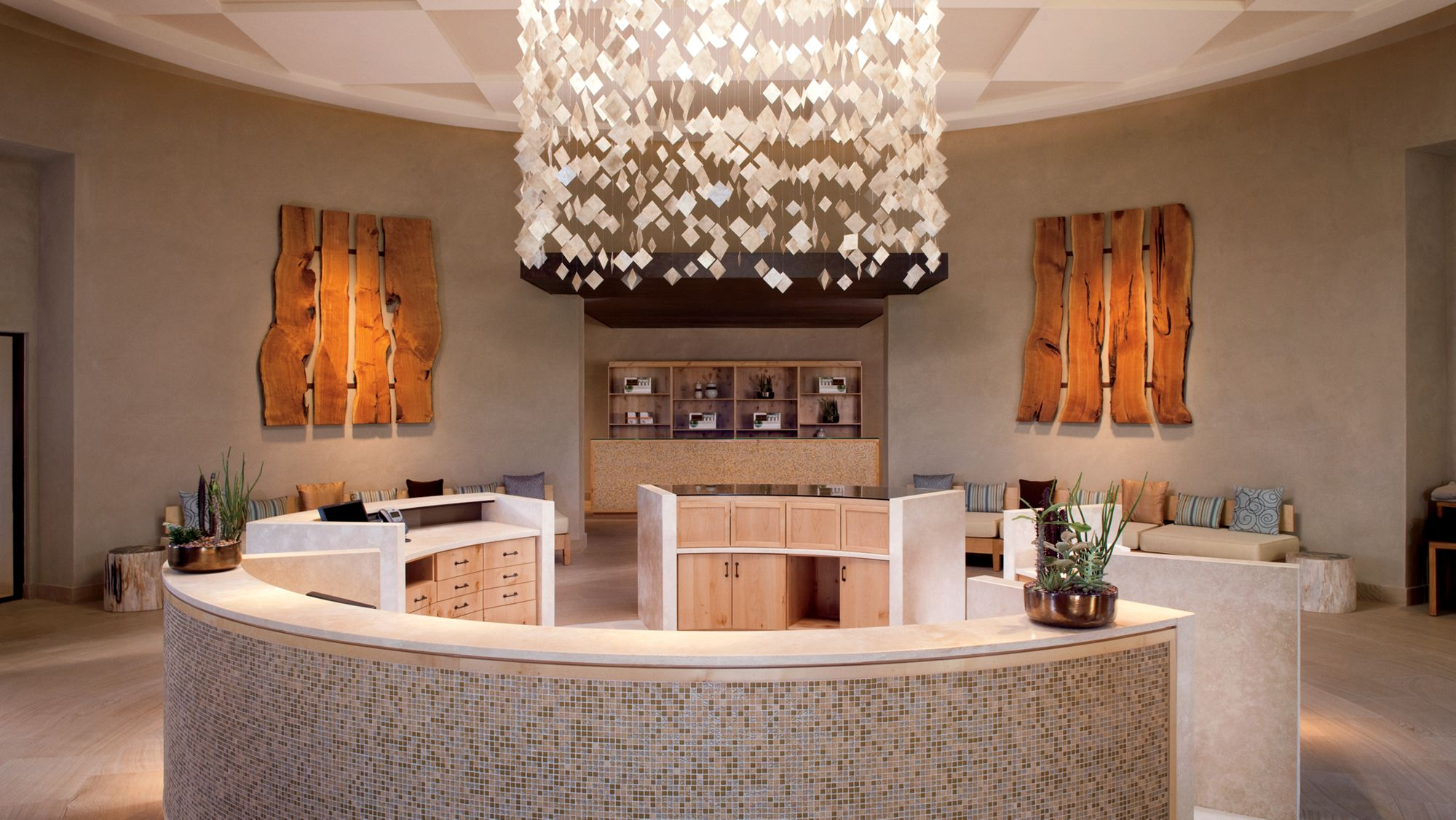 The elegant reception area and desk of The Ritz-Carlton Spa at the resort