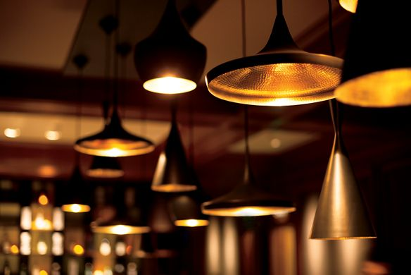Close-up of hanging lamps of different shapes and sizes