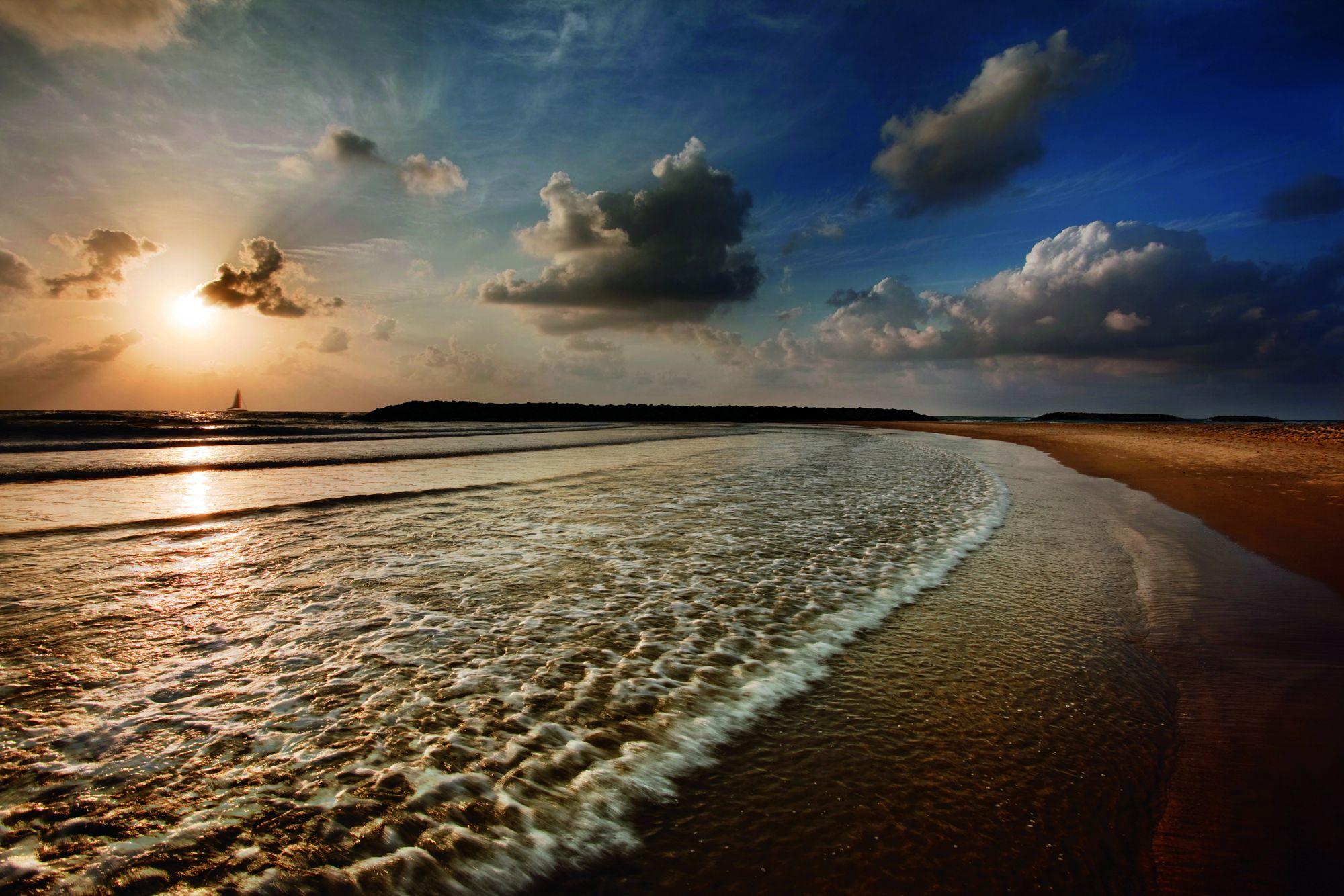 Beautiful sunset over the beach at the Tel Aviv coastal retreat of The Ritz-Carlton, Herzliya