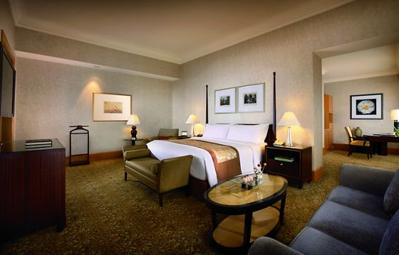 Spacious guest room with gold carpet, a two-post king bed, a flat-screen television and passageway to another room