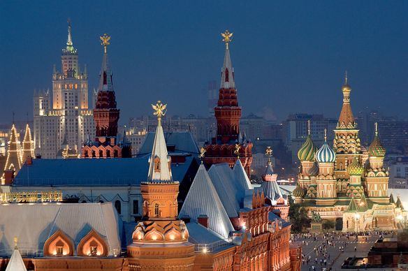 Night view of the colorful, ornate buildings in Moscow's Red Square
