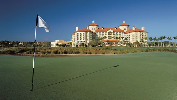 View of the resort from a golf course hole