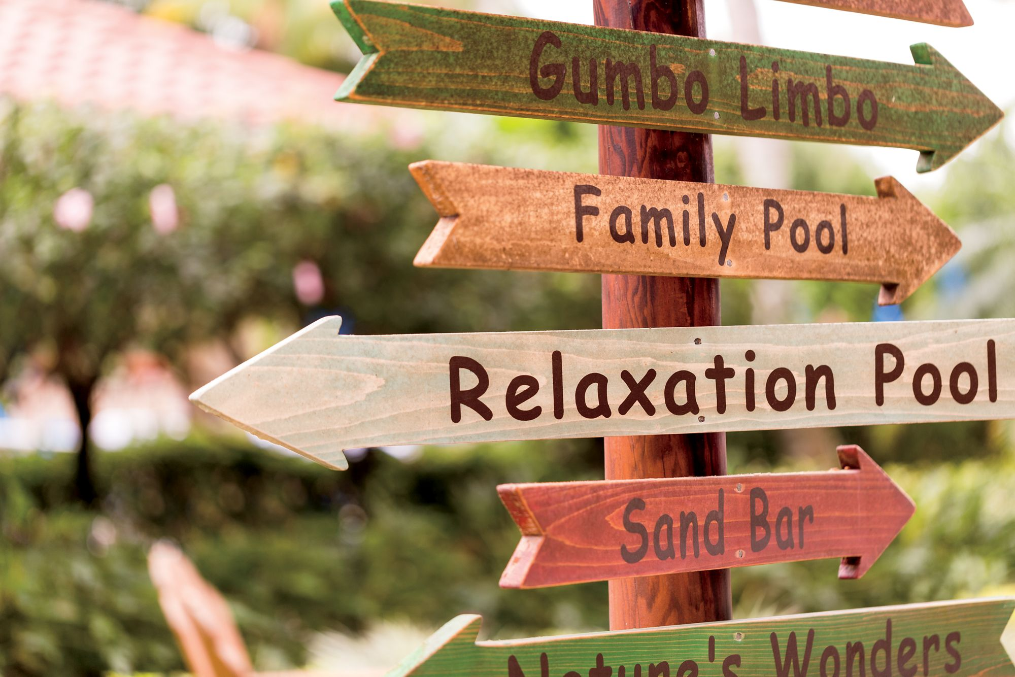 """A wood sign with multiple arrows directing readers to """"Gumbo Limbo,"""" the """"Family Pool,"""" the """"Relaxation Pool"""" and """"Sand Bar"""""""