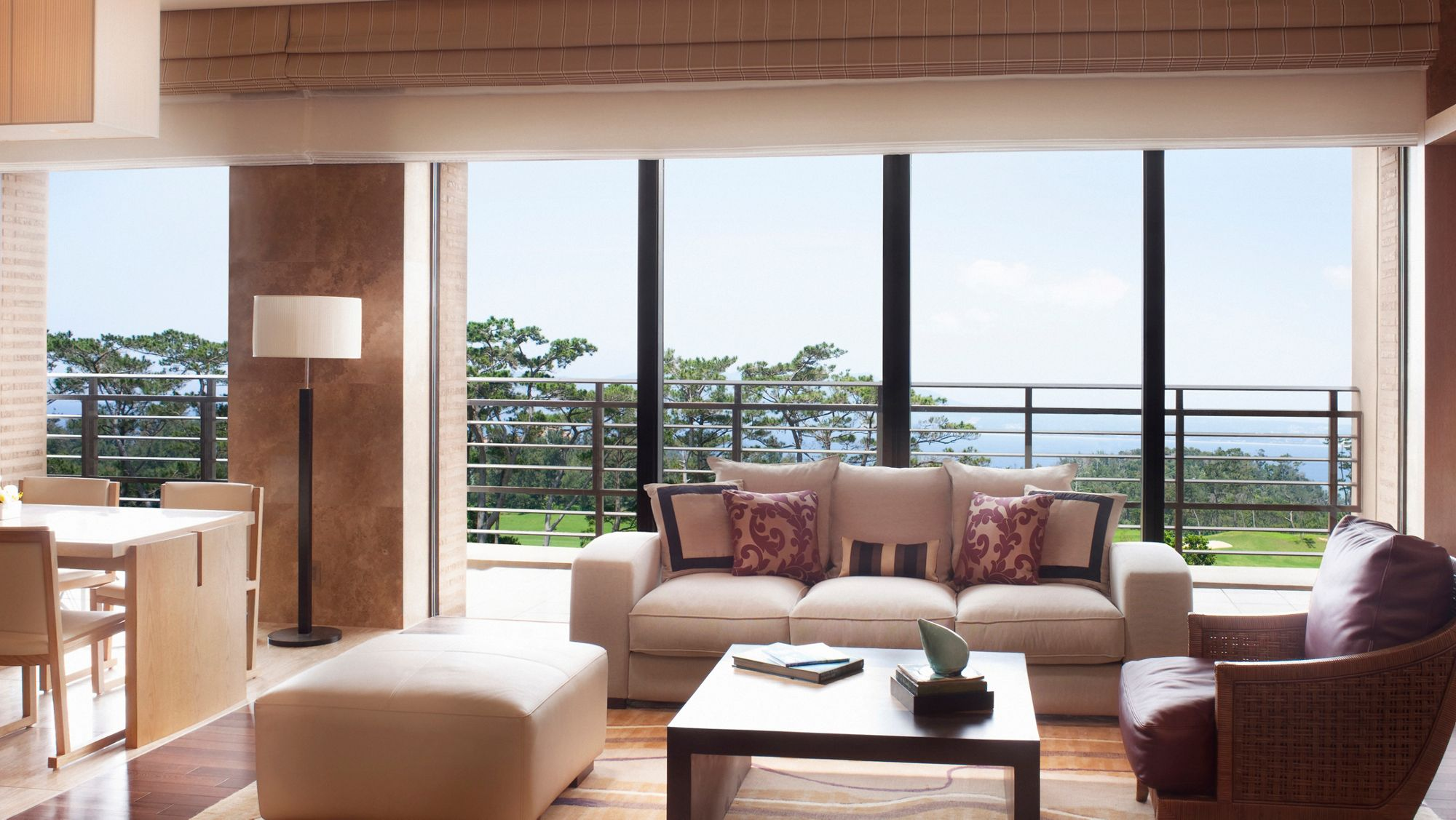 The expansive living room of the well-appointed Ritz-Carlton Suite in Okinawa