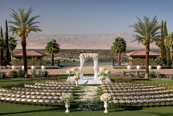 A large lawn with rows of chairs separated by a flower petal-strewn aisle
