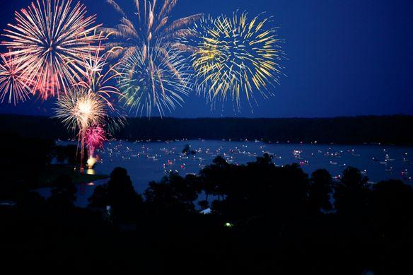 Fireworks in the night sky over Lake Oconee