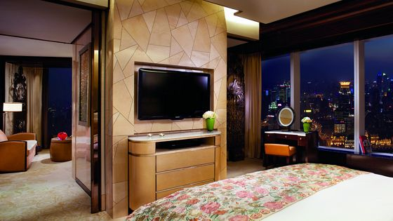 A floating wall with a flat-screen television separates the bedroom in the foreground from the living spaces beyond