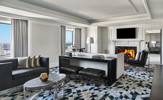 The elegant, European-inspired Presidential Suite at The Ritz-Carlton, Tysons Corner, has a generous view of the D.C. skyline.