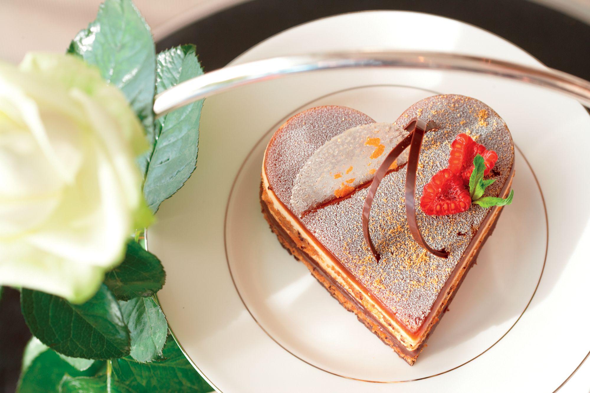 A heart-shaped cake