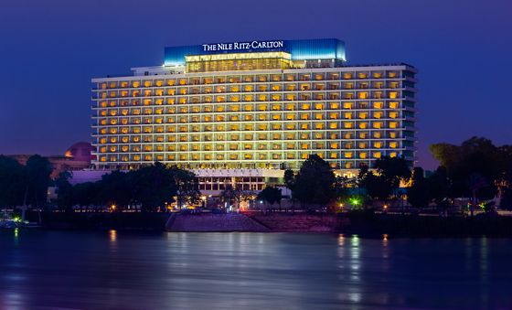 Evening view of the hotel with the Nile in the foreground
