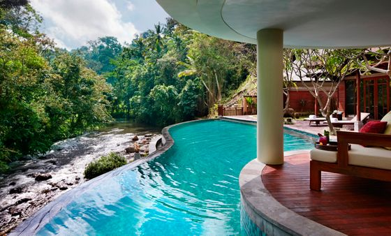 A curved pool with a covered deck on one side and a river and greenery on the other